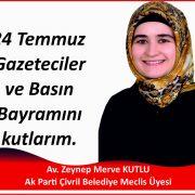 24 Temmuz Gazeteciler ve Basın Bayramını kutlarım.